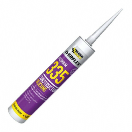 Everbuild 335WE 335 Construction Silicone Sealant White 295ml